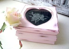 Pink Heart Jewelry Box Small Wooden Vintage by WillowsEndCottage, $25.00