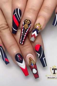 Coffin Nails Designs Trends Nail Art Ideas 2019 - Page 21 of 58 - hairstylesofwomens. com, Coffin Nails Designs Trends Nail Art Ideas 2019 - Page 21 of 58 - hairstylesofwomens. com Choice of Cleopatra is Blood Red Cleopatra . Nail Art Designs, Acrylic Nail Designs, Acrylic Nails, Nails Design, Crazy Nail Designs, Cute Nails, Pretty Nails, My Nails, Stiletto Nails