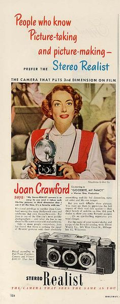 Joan Crawford in 3-D for Stereo Realist Cameras-- and Bette Davis accused her if being lacking in dimension! [pr].
