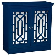 Check out this item at One Kings Lane! Carine Mirrored Cabinet, Navy