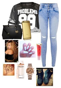 """""""bored n school"""" by pinkyswagg ❤ liked on Polyvore featuring MICHAEL Michael Kors, Goldgenie, Tiffany & Co., Barry M, Balenciaga and 88 RUE DU RHONE"""