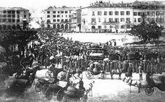 Le cortège funéraire du tsarévitch Nicolas passant sur le pont neuf. Photo Charles Negre 1865