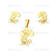 juego colgante y aretes de gallos en acero dorado inoxidable - SSSTG1074308
