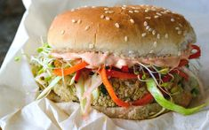 White Bean Burger With Sesame Ginger Slaw and Gochujang Yogurt [Vegan] - One Green PlanetOne Green Planet