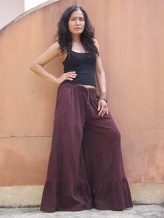 Wide Leg Pants...Flared Pants... Color Maroon by Ablaa on Etsy