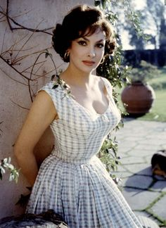 Gina Lollobrigida ~ I always loved her in this hair-do.  Love her feminine dress here too.