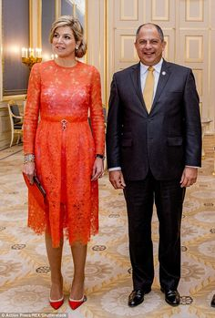 11 May 2017 - King Willem Alexander and Queen Maxima welcome the President of Costa Rica - dress by Natan