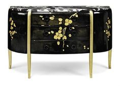 MICHEL DUFET   A DEMI-LUNE COMMODE, 1919   Black and white veined marble top, above three central drawers flanked by two compartments with doors, the whole supported on four giltwood uprights, lacquered beech, the drawer fronts decorated with flowers in gilt-lacquer  31½ in. (80 cm.) high; 51¾ in. (131.5 cm.) wide; 17 in. (43 cm.) deep  So, so nice.  Sold for 49,250 against a pae of 10-15.
