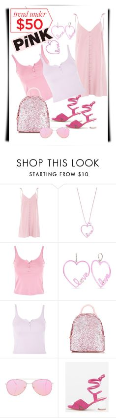 """Trends under $50.00  Tickled Pink!"" by empath-eye ❤ liked on Polyvore featuring Topshop, Betsey Johnson and Skinnydip"