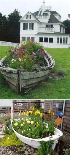 old boat as planter