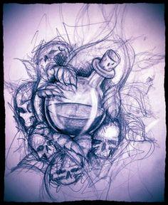 poisoned apple skull roses tattoo - Hledat Googlem