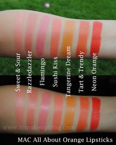 LC makeup artist: MAC All About Orange Swatches