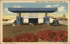 Postcard showing the original toll entrance to Mobile's Bankhead Tunnel