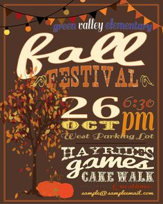 Fall Festival Poster / Advertisement / Flyer / Invitation. Printable download.