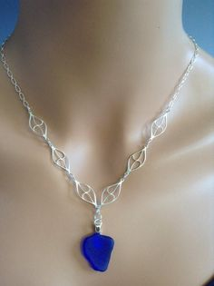 """Sea Glass necklace set, """"Beach Waves"""" by Scarlet Mare Studio   $90"""