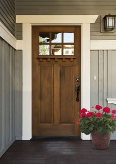 6 lite shaker style craftsman mahogany wood entry front for Natural wood front door