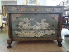 For Sale on 1stdibs - Stunning 19th century French Neoclassical walnut commode or chest of drawers with three small drawers above three larger drawers with faux marble top resting Small Drawers, Chest Of Drawers, French Furniture, Neoclassical, Marble Top, Chalk Paint, French Antiques, 19th Century, Horses