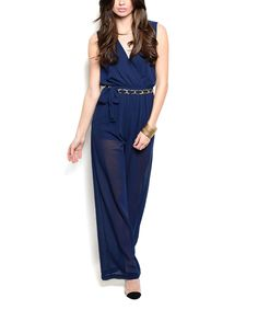 Navy Sheer-Leg Surplice Jumpsuit