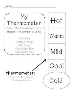 New Product!  Color-coded thermometer and match the temperature to the weather picture.  Perfect supplement to weather/temperature math lessons!  Get yours now!