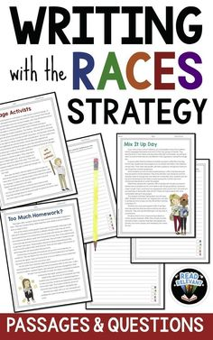 Teach kids to write constructed responses using the RACES strategy! These passages and questions are great to get you started. Races Writing Strategy, Race Writing, 3rd Grade Writing, Middle School Writing, Writing Strategies, Writing Lessons, Writing Resources, Teaching Writing, Writing Activities
