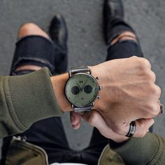 As bold as the open road. This oversized 47mm chronograph is inspired by 1960's auto culture, with double-domed glass and vintage dual dials. The Rallye Green Gunmetal's matte gunmetal steel and olive colorway takes notes from that time's classic muscle car paint jobs. Mvmt Watches, Watches For Men, Stainless Steel Watch, Stainless Steel Bracelet, Sleek Rose Gold, Skeleton Watches, Mesh Band, Apple Watch Bands, Bracelets For Men