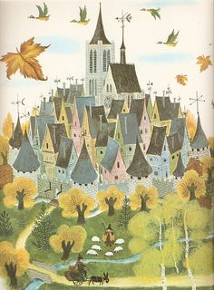 The Pied Piper of Hamelin, illustrated by M. Tillard.______ different, reminds me of my kafka cover with the houses on