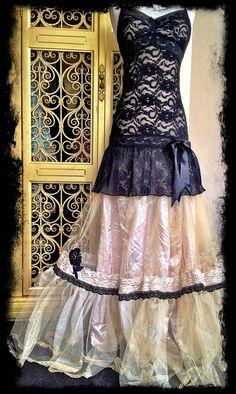 black & champagne gold lace petticoat formal dress by mermaid miss k. $150.00, via Etsy.