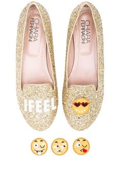 Chiara Ferragni I Feel Flat in Gold Glitter