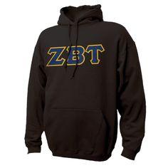 ZBT Black Hoodie with Sewn On Greek Letters