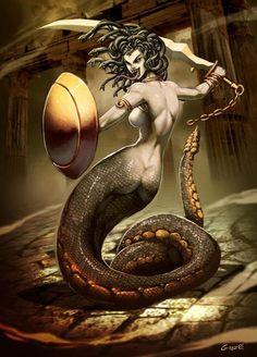 Medusa - Gorgon is one of the oldest and most popular ancient myths. Medusa in Greek mythology is referenced as one of the three Gorgons. Medusa Gorgon, Greek Gods And Goddesses, Greek And Roman Mythology, Kraken, Fantasy Creatures, Mythical Creatures, Medusa Pictures, Greek Mythological Creatures, Mythological Characters