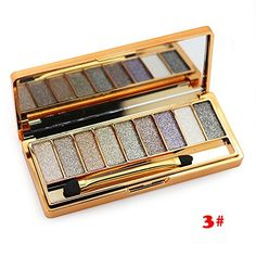 Tmalltide Natural Nudes Professional 9 Colors Diamond Bright Colorful Eye Shadow Super Flash Sparkling/Glitter Eyeshadow Colour Concealer Palette Gift Bundle(3