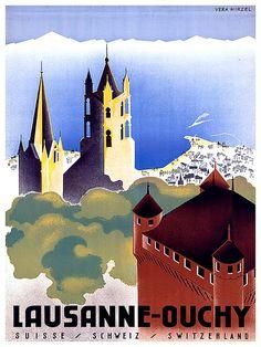Swiss Travel Art Print Switzerland Home Decor by Blivingstons