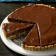 Fudge Pecan Brownie Tart Recipe -I love inventing my own recipes and entering contests—I won a blue ribbon at the Iowa State Fair for this one! Tart Recipes, Brownie Recipes, Strudel Recipes, Cuban Recipes, Sweet Recipes, Best Chocolate, Chocolate Recipes, Chocolate Dreams, Chocolate Cakes