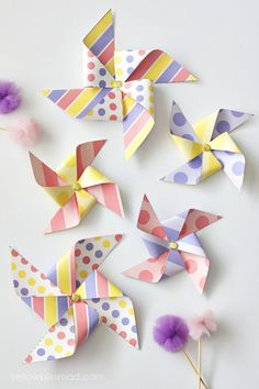 Colorful Spring Pinwheels | Easter Decorations | Yellow Bliss Road