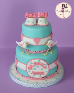 Super sweet bird baby shower cake by Olivia June