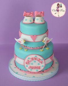 Super sweet bird baby shower cake by Olivia June