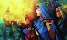 Asha Painting by Kashinath Modern Indian Art, Indian Folk Art, Modern Art, Indian Art Paintings, Contemporary Paintings, Krishna Painting, Buddha Painting, 3d Art Drawing, Art Drawings