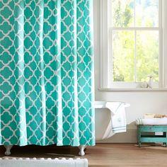 DAMASK AQUA BLUE Shower Curtain By MY PRETTY HOME Monika Strigel