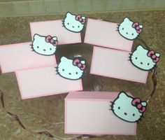 Hello Kitty   Food/Name Cards by whimzypartycreations on Etsy, $12.00 Hello Kitty Wedding, Hello Kitty Birthday, Kitty Party, Food Names, Name Cards, Birthday Bash, Sanrio, Handmade Gifts, Etsy