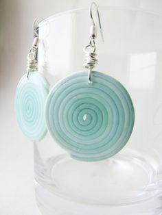 Mint round dangle earrings.  Geometric swirl shape Tender summer fashion polymer clay OOAK Wire wrapped on Etsy, $11.20