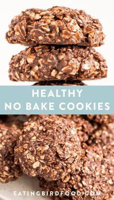 Peanut butter chocolate healthy no bake cookies made with half the amount of sugar in traditional no bake cookies and coconut oil instead of butter Dairy-free vegan and refined sugar free vegan dairyfree nobakecookies eatingbirdfood Healthy Deserts, Healthy Sweets, Healthy Dessert Recipes, Healthy Baking, Baking Recipes, Healthy Chocolate Snacks, Healthier Desserts, Healthy Sweet Snacks, Easy Diabetic Desserts