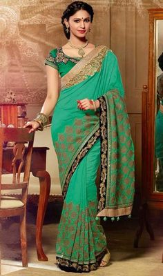 Sari, Silk Fabric in Chrome Green Color Shaded