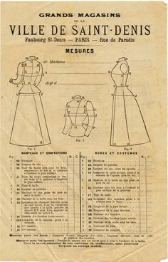 besottment by paper relics: Free Download: French Mail Order Measurement Form