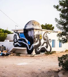 """With the """"Djerbahood"""" project, the Galerie Itinerrance brought together over 150 street artists from around the world to invade the small village of Erriadh o"""
