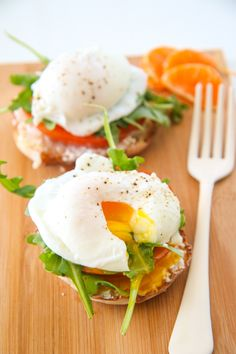 Rise and shine... it's breakfast time! These open faced vegetarian Poached Egg Sandwiches are an easier and healthier spin on Eggs Benedict. Scared of making poached eggs at home? No worries... video included!