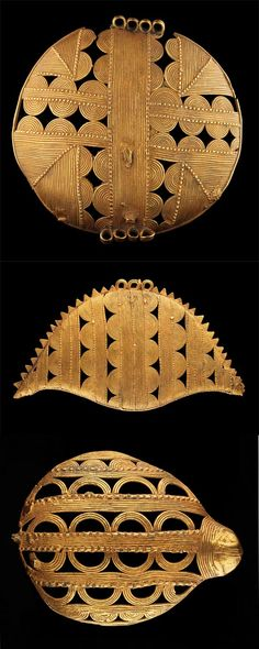 Africa   Pendants from the Akan people of the Ivory Coast    Top) Ø 8,3 cm. 10k gold. Est 2,000 - 3,000CHF.  Middle) L. 12 cm. 9k gold.  Est. 4,000 - 6,000CHF.  Bottom) L. 5cm.  5k gold.  Est. 2,000 - 3,000CHF