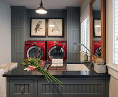 Laundry room. Charcoal laundry room cabinet paint color. | Repinned by Alvarado Paint & Hardware, www.alvaradopaint.com