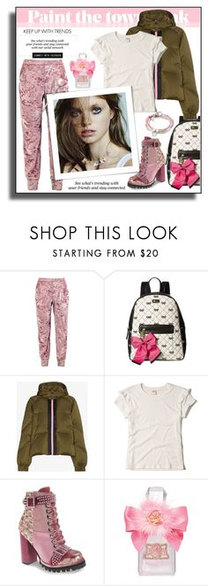 """""""PAINT THE TOWN PINK!!!"""" by kskafida ❤ liked on Polyvore featuring Boohoo, Betsey Johnson, Ganni, Hollister Co., Jeffrey Campbell, Erdem, Juicy Couture and Lizzy James"""