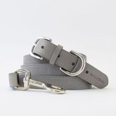 Handcrafted in England, this collar is made with Italian Bruccatio leather and nickel plated brass fittings. Leather is stitched, edge-stained, and embossed.