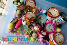 such a cute ice cream sensory bin...plus, it's a great excuse to eat ice cream (need all the empty pints!)